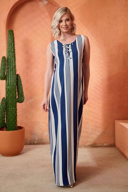 İşşıl O7014-Kuç Gözü Bağlama Hamile Maxi Jile Elbise 20Ygrelb014