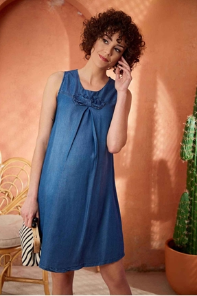 8024-Yaka Fiyonk Mini Hamile Jile Kot Elbise