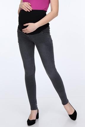 Hamile Giyim Tırnaklı Kemersiz Dar Paça Kot Pantolon