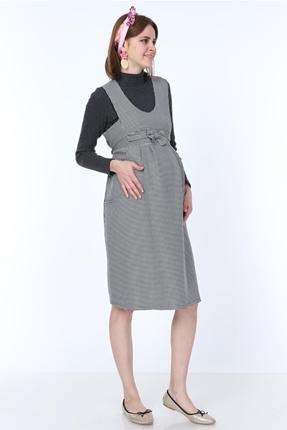 9743-Kazayaği Fiyonk Mini Jile Hamile Elbise