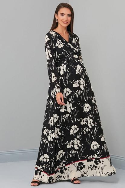 Işşıl 6002 Babil Gölge Gül Hamile Maxi Elbise 19Yenelb012