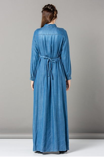 Işşıl 8625 Gömlek Yaka Hamile Tencel Maxi Elbise 19Kgrelb002