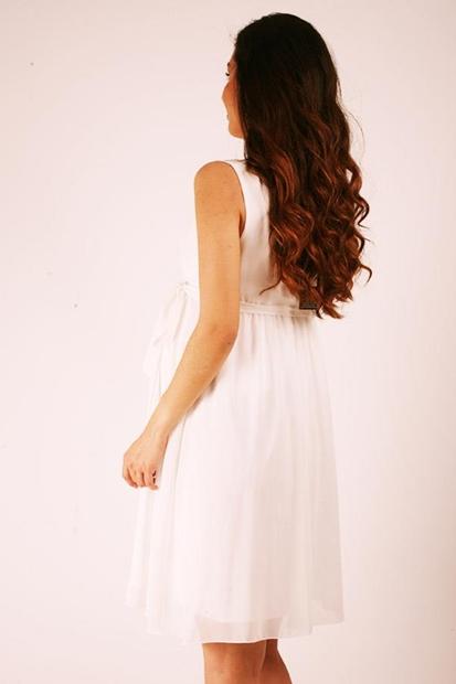 Işşıl 5060 Hamile Kruvaze Pileli Mini Şifon Elbise 19Yenaby004