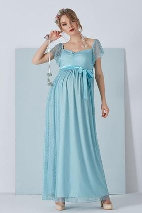 6026 Puanli Tül Hamile Abiye Maxi Elbise