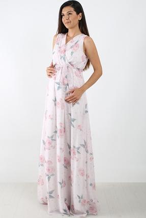 6040 Kruvaze Gül Pileli Şifon Maxi Elbise