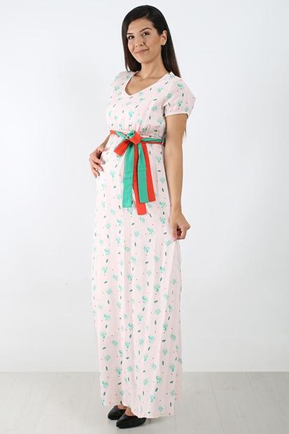 Işşıl 7786 Orijinal Bitki Pamuk Maxi Elbise 19YFCELB001