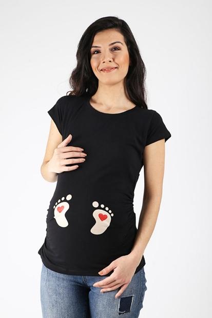 Işşıl Kalpli Ayak İzli Hamile Tişört 18YISTHS005