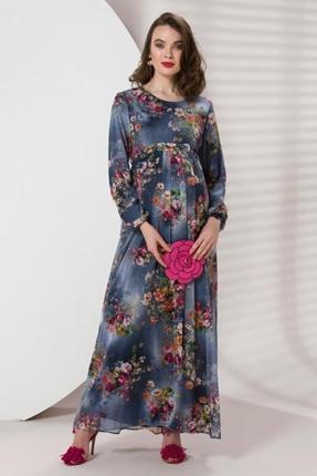 8259 Hamile Buket Çiçek Şifon Elbise