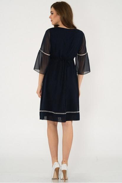 Işşıl Yarım Kol Mini Puanlı Elbise 18Yenelb010