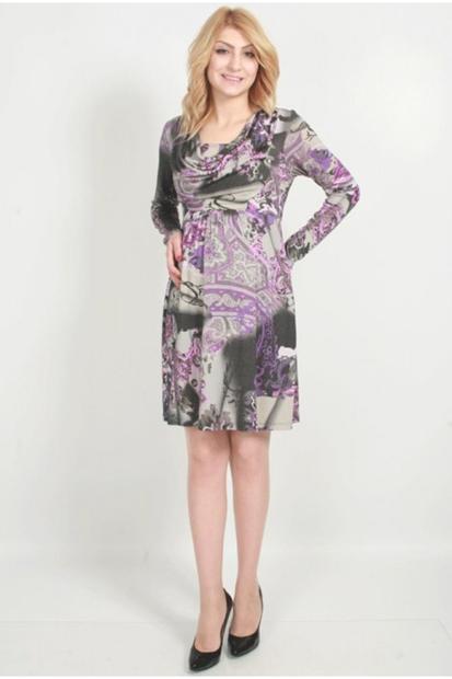Işşıl Hamile Giyim Degaje Yaka Desenli Elbise 13Kebelb011