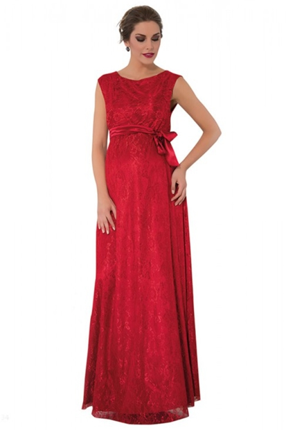 Işşıl Güpür Tam Boy Kırmızı Abiye Elbise 16Yenaby010