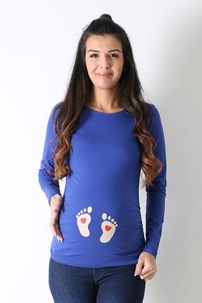 Hamile Kalpli Ayak İzi Tişört
