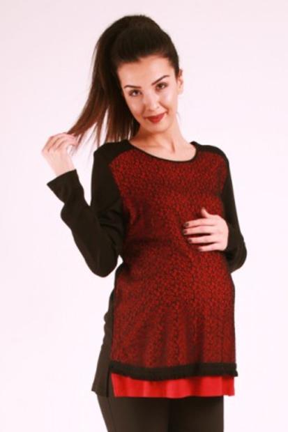 Işşıl Hamile Giyim Fileli Merserize Bluz 17KLVBLZ001