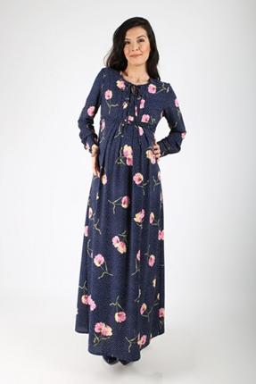 Hamile Yaban Gülü Puanlı Elbise