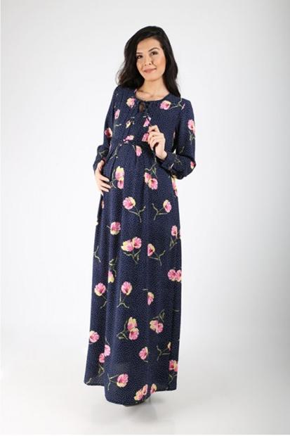 İşşıl Hamile Yaban Gülü Puanlı Elbise 19YMLELB004